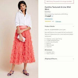 New! Anthropologie Cynthia Textured A-Line Skirt